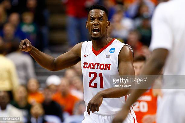 Dyshawn Pierre of the Dayton Flyers celebrates after a three point basket in the first half against the Syracuse Orange during the first round of the...