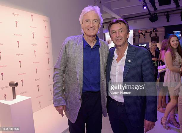 Dyson founder and chief engineer Sir James Dyson and Dyson US President Phil Molyneux attend the Dyson Supersonic Hair Dryer launch event at...