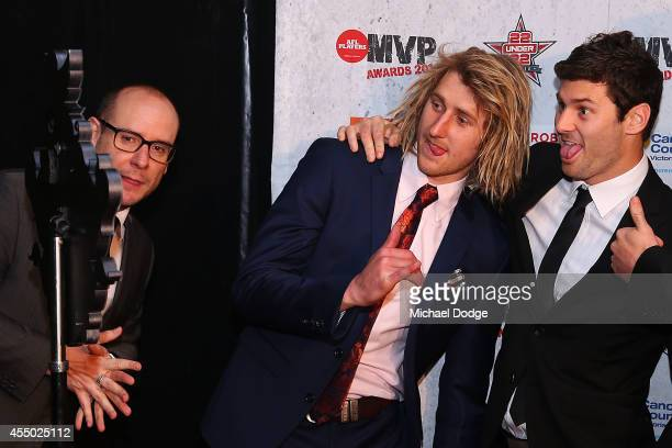 Dyson Heppell and Ben Howlett pose for a selfy at the 2014 AFL Players MVP Awards at Shed 14 on September 9 2014 in Melbourne Australia