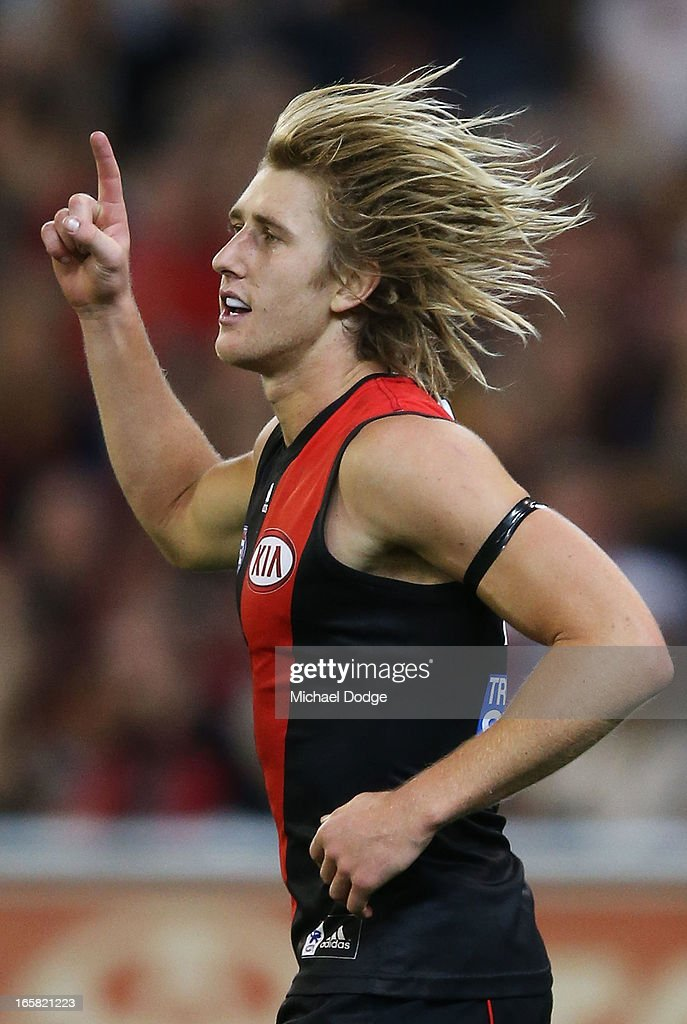Dyson Heppell of the Bombers celebrates a goal during the round two AFL match between the Essendon Bombers and the Melbourne Demons at Melbourne Cricket Ground on April 6, 2013 in Melbourne, Australia.