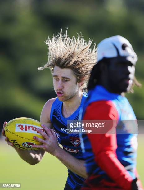 Dyson Heppell of the Bombers gathers the ball during an Essendon Bombers AFL training session at True Value Centre on June 20 2017 in Melbourne...