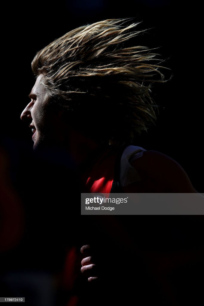 Dyson Heppell of the Bombers looks ahead during the round 20 AFL match between the Essendon Bombers and the West Coast Eagles at Etihad Stadium on August 11, 2013 in Melbourne, Australia.