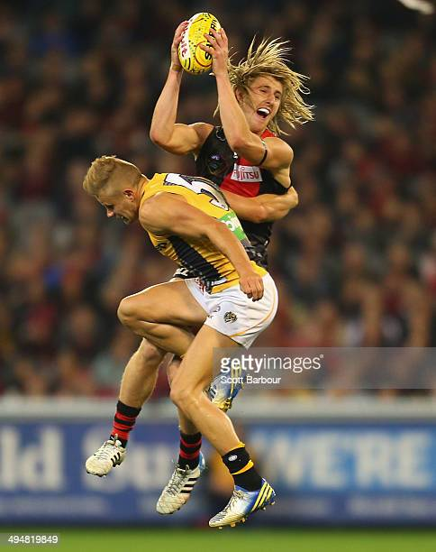 Dyson Heppell of the Bombers takes a mark during the round 11 AFL match between the Essendon Bombers and the Richmond Tigers at the Melbourne Cricket...