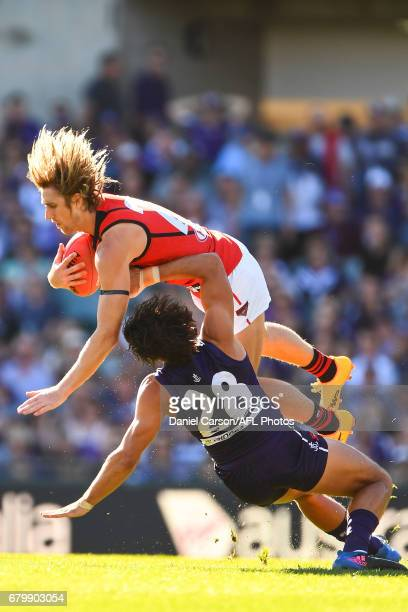 Dyson Heppell of the Bombers takes a mark over Brady Grey of the Dockers during the 2017 AFL round 07 match between the Fremantle Dockers and the...