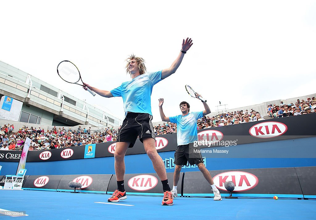 Dyson Heppell of the Essendon Football Club participates in the cardio tennis session on Margaret Court on day six of the 2013 Australian Open at Melbourne Park on January 19, 2013 in Melbourne, Australia.