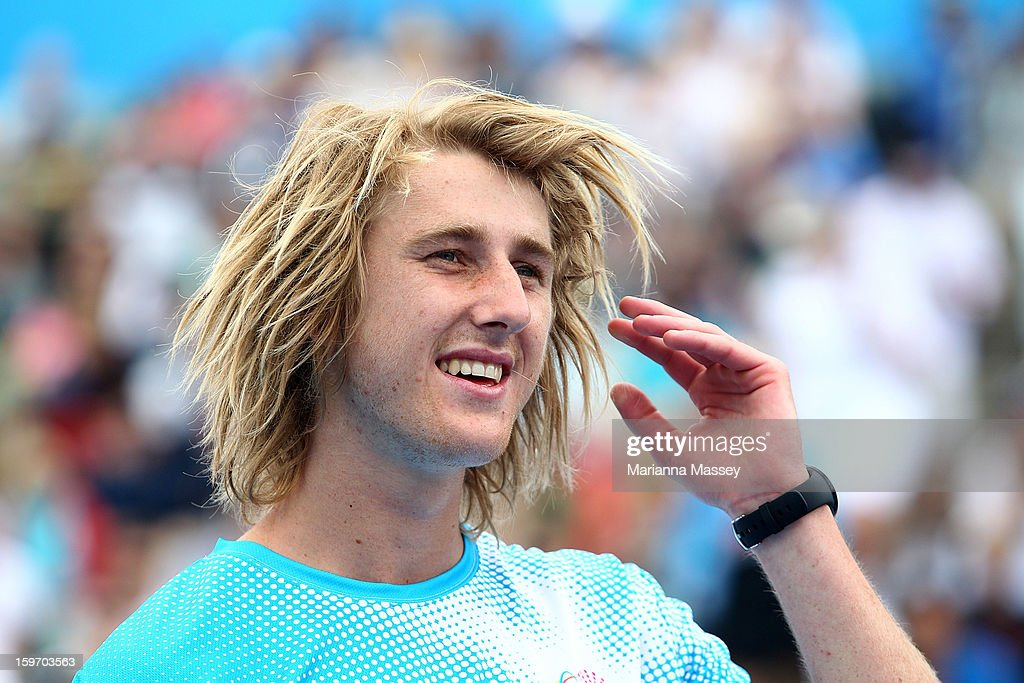 Dyson Heppell of the Essendon Football participates in the cardio tennis session on Margaret Court on day six of the 2013 Australian Open at Melbourne Park on January 19, 2013 in Melbourne, Australia.