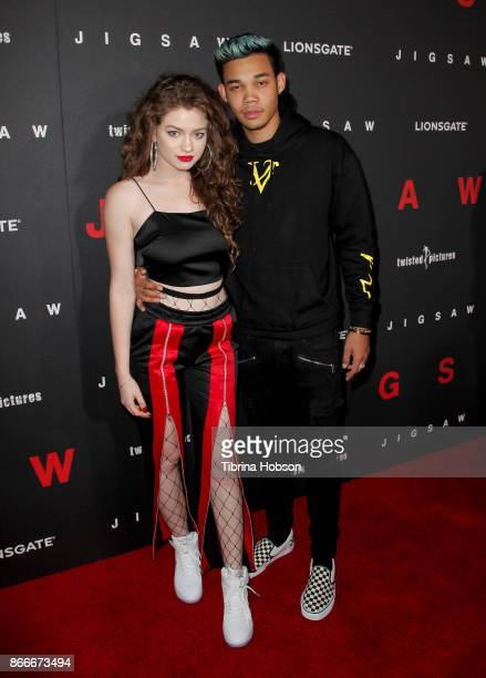 Dytto and Roshon Fegan attend the premiere of Lionsgate's 'Jigsaw' at ArcLight Hollywood on October 25 2017 in Hollywood California