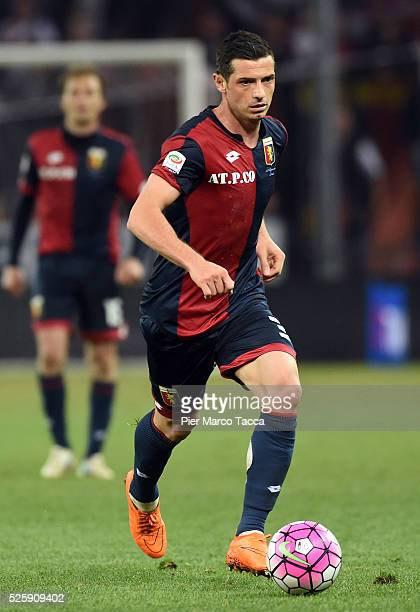 Dzemaili Blerim of Genoa CFC in action during the Serie A match between Genoa CFC and FC Internazionale Milano at Stadio Luigi Ferraris on April 20...