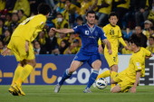 Dzenan Radoncic of Suwon Bluewings in action during the AFC Champions League Group H match between Kashiwa Reysol and Suwon Bluewings at Hitachi...