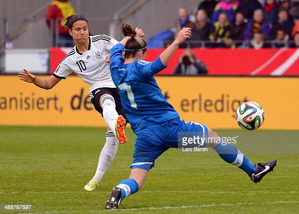 Dzenifer Marozan of Germany scores his teams fifth goal during the FIFA Women's World Cup 2015 Qualifier between Germany and Slovakia at Osnatel...