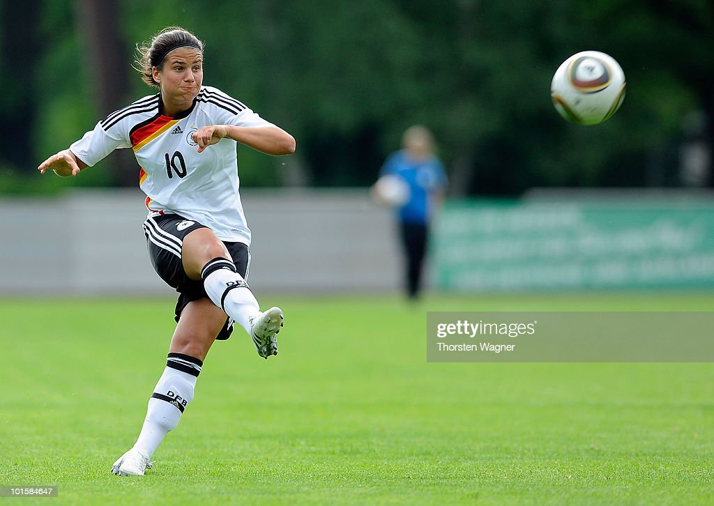 Dzenifer Marozsan of Germany runs with the ball during the U20 international friendly match between Germany and South Korea at Waldstadion on June 2, 2010 in Giessen, Germany.