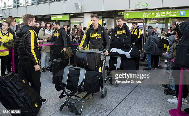 Dzenis Burnic of Borussia Dortmund before leaving for their training camp in Marbella at the Dortmund Airport on January 05 2017 in Dortmund Germany