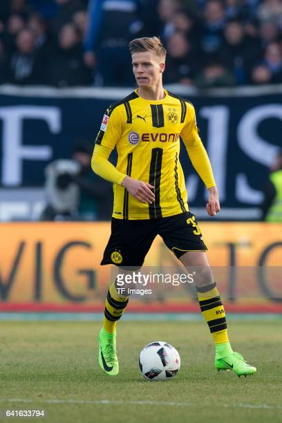 Dzenis Burnic of Borussia Dortmund controls the ball during the Bundesliga match between SV Darmstadt 98 and Borussia Dortmund at Jonathan Heimes...