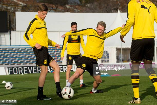 Dzenis Burnic of Dortmund and Andre Schuerrle of Dortmund battle for the ball during the fifth day of the training camp in Marbella on January 09...