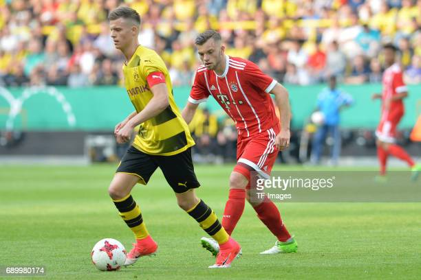 Dzenis Burnic of Dortmund and Manuel Wintzheimer of Munich battle for the ball during the U19 German Championship Final match between U19 Borussia...