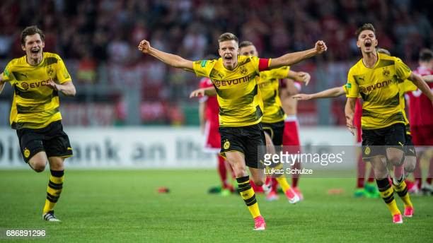 Dzenis Burnic of Dortmund celebrates with team mates their win of the U19 German Championship Final after the match between Borussia Dortmund and FC...