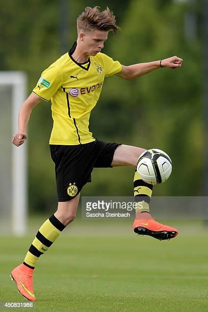 Dzenis Burnic of Dortmund controls the ball during the B juniors bundesliga semi final match between Borussia Dortmund and Hertha BSC at Fussballpark...