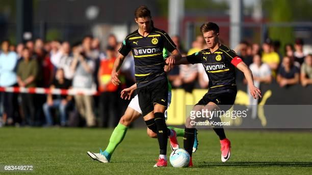 Dzenis Burnic of Dortmund runs with the ball during the U19 German Championship Semi Final second leg match between Borussia Dortmund and VfL...