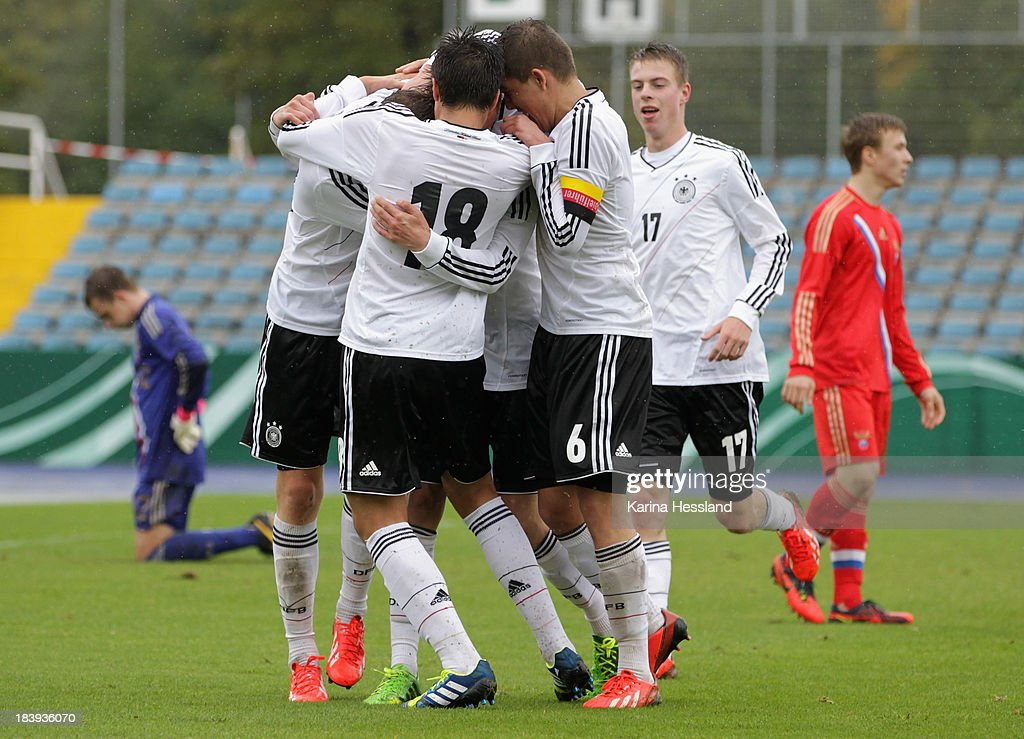 Dzenis Burnic of Germany celebrates the goal with teammates during the under 16 friendly match between Germany and Russia at ErnstAbbeSportfeld on...