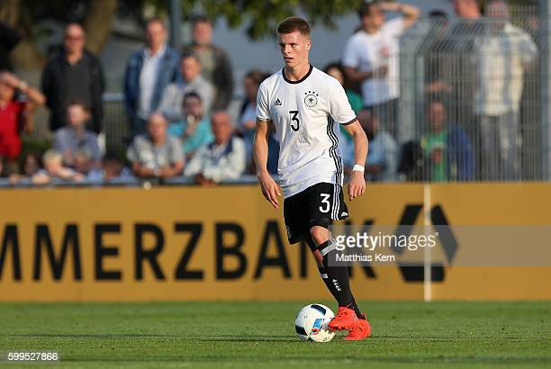 Dzenis Burnic of Germany runs with the ball during the international friendly match between U19 Germany and U19 Netherlands on September 5 2016 in...