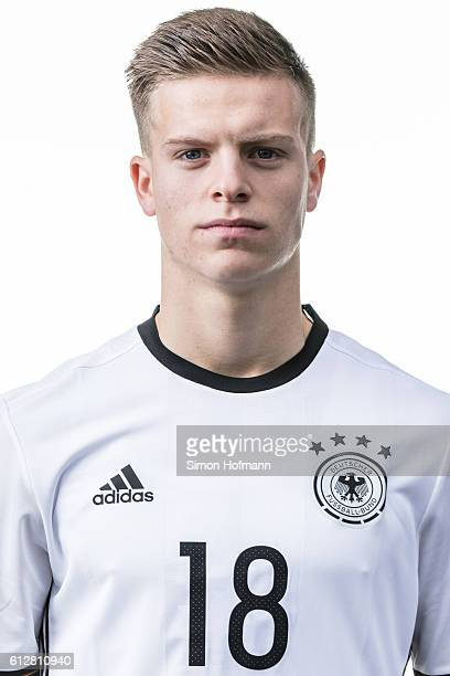 Dzenis Burnic poses during Germany U19 Team Presentation at CommerzbankArena on October 3 2016 in Frankfurt am Main Germany