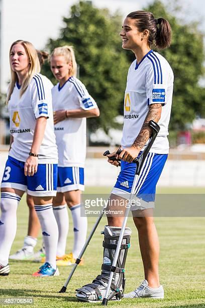 Dzennifer Maroszan attends 1 FFC Frankfurt Team Presentation at Stadion am Brentanobad on August 11 2015 in Frankfurt am Main Germany