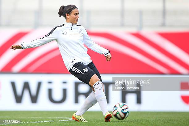 Dzennifer Maroszan controls the ball during a Germany Women's Training Session on October 24 2014 in Offenbach Germany