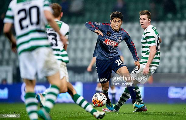 Dzhamaldin Khodzhaniazov of AGF Aarhus controls the ball during the Danish Alka Superliga match between Viborg FF and AGF Aarhus at Energi Viborg...