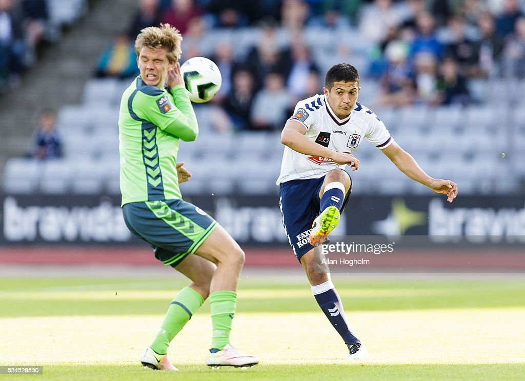 Dzhamaldin Khodzhaniazov of AGF controls the ball during the Danish Alka Superliga match between AGF Aarhus and OB Odense at Ceres Park on May 26, 2016 in Aarhus, Denmark.