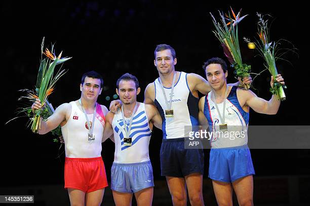 Dzmitry Barkalau of Belarus Eleftherios Kosmidis of Greece Alexander Shatilov of Israel and Gael Da Silva of France pose on the podium with their...