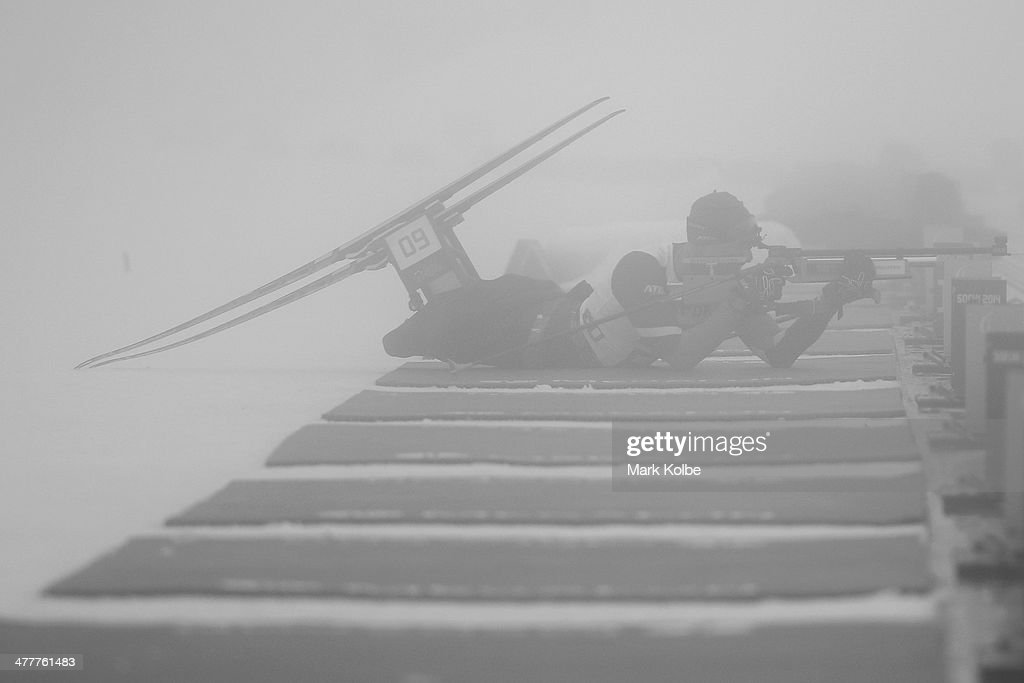 Dzmitry Loban of Belarus shoots in fog conditions as he competes in the Men's 12.5km Sitting Biathlon during day four of Sochi 2014 Paralympic Winter Games at Laura Cross-country Ski & Biathlon Center on March 11, 2014 in Sochi, Russia.