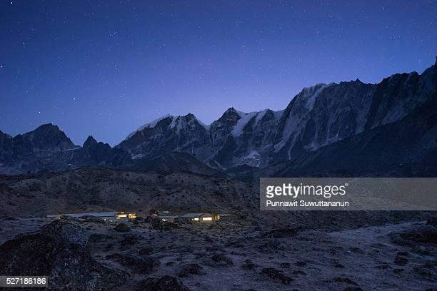 Dzongla village in the night, Everest region