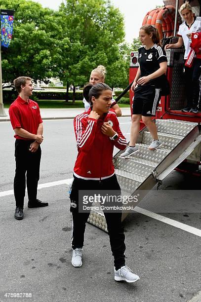 Dzsenifer Maroszan looks on as Germany team take a boat ride on June 5 2015 in Ottawa Canada