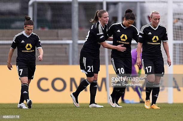 Dzsenifer Maroszan of 1 FFC Frankfurt celebrates with team mates as she scores the second goal duirng the UEFA Women's Champions League quarter final...