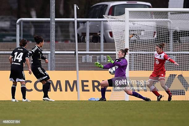 Dzsenifer Maroszan of 1 FFC Frankfurt scores the second goal duirng the UEFA Women's Champions League quarter final second leg match between 1 FFC...