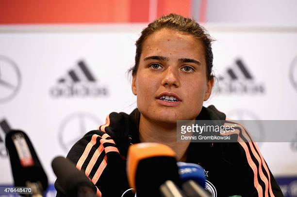 Dzsenifer Maroszan of Germany faces the media during a press conference at The Shaw Centre on June 9 2015 in Ottawa Canada