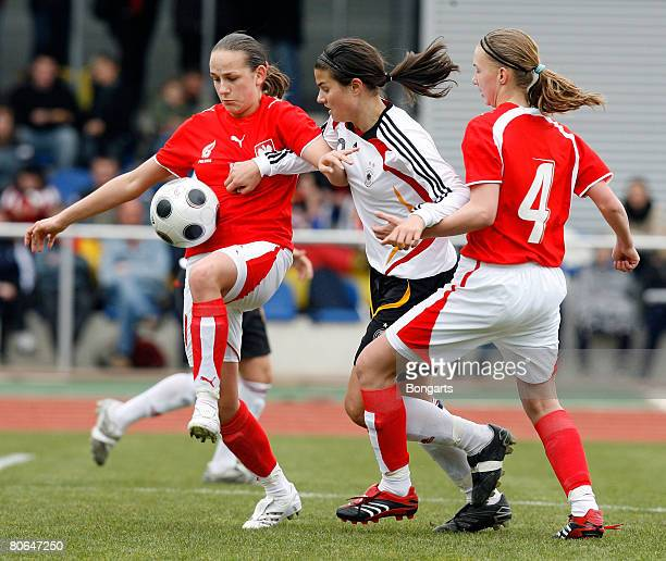 Dzsenifer Maroszan of Germany in action with Weronika Aszkielowicz of Poland during the Women's U17 Euro qualifier match between Germany and Poland...