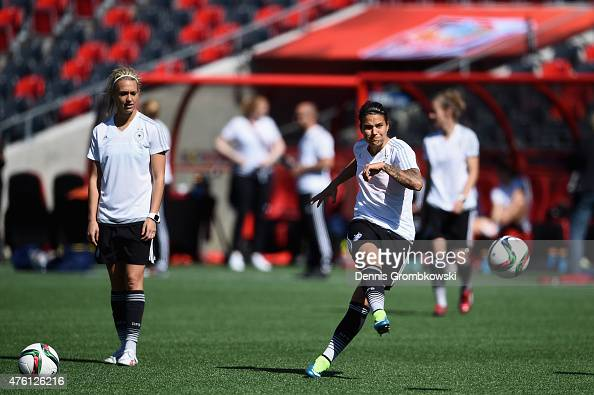 Dzsenifer Maroszan of Germany takes a shot during a training session ahead of their Group B match against Cote d'Ivoire at Lansdowne Stadium on June...