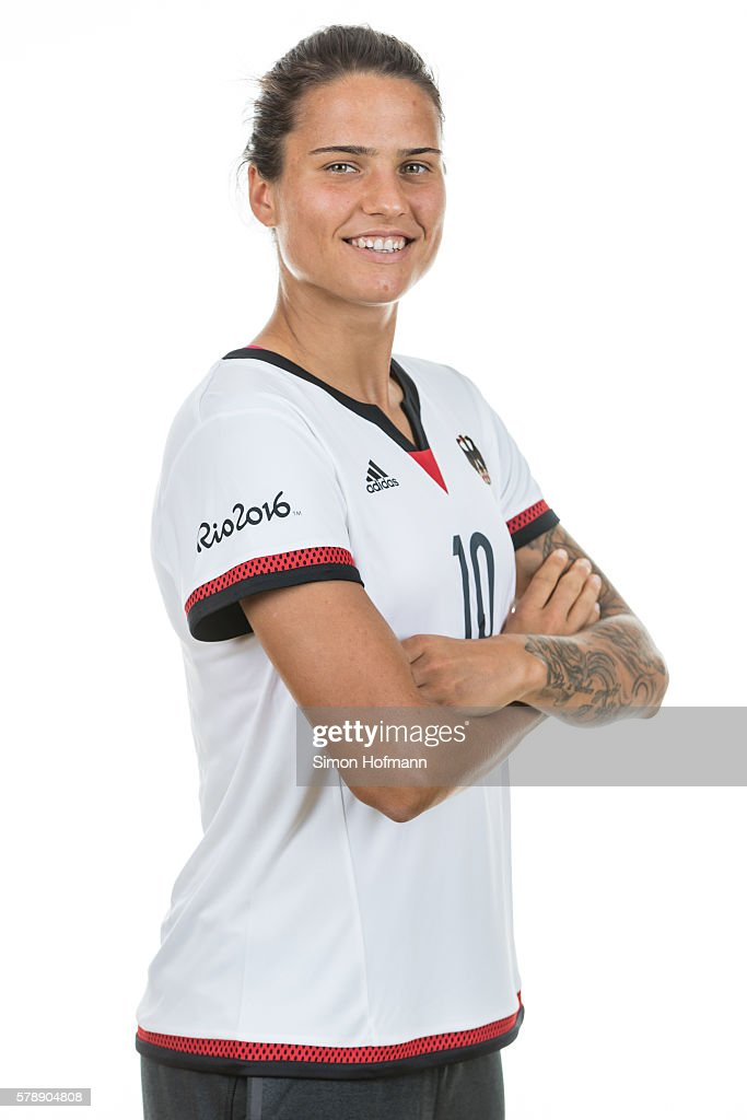 Dzsenifer Maroszan poses during Germany Women's Team Presentation on July 19, 2016 in Paderborn, Germany.