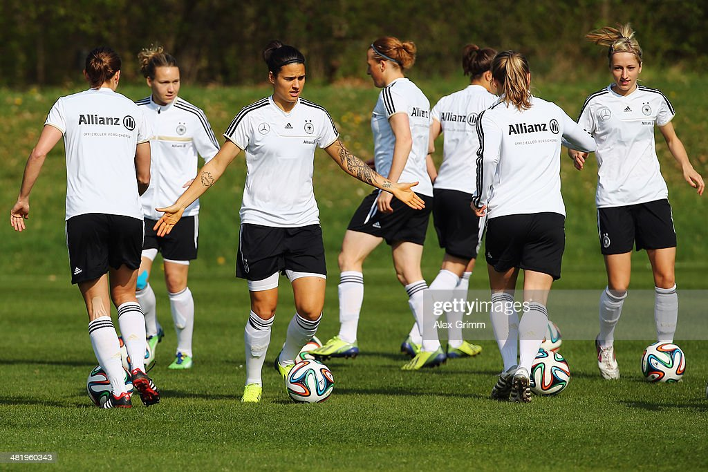 Dzsenifer Marozsan controles the ball during a Germany Women's training session at the Commerzbank Arena training ground on April 2 2014 in Frankfurt...