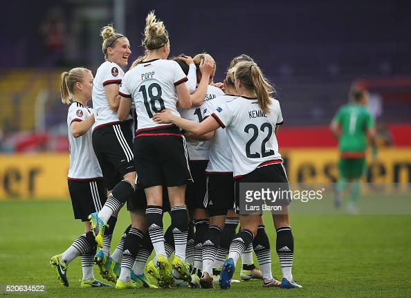 Dzsenifer Marozsan of Germany celebrates after scoring her teams first goal during the UEFA Women's Euro 2017 qualifier between Germany and Croatia...
