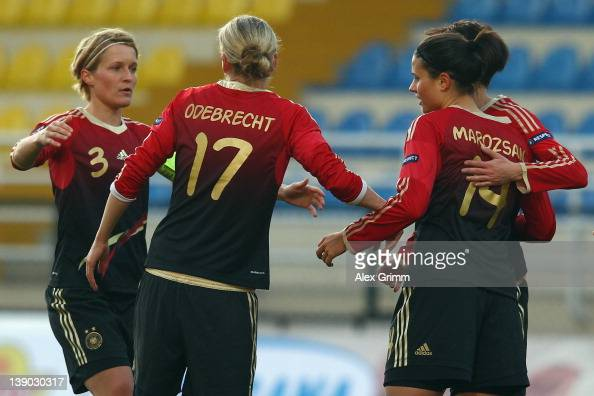 Dzsenifer Marozsan of Germany celebrates her team's first goal with team mates Linda Bresonik Viola Odebrecht and Saskia Bartusiak during the Women's...