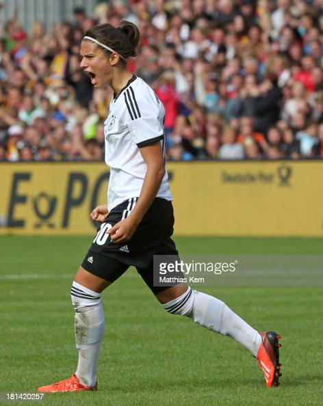 Dzsenifer Marozsan of Germany jubilates after scoring the third goal during the Women's World Championship qualification match between Germany and...