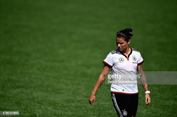 Dzsenifer Marozsan of Germany looks on during a training session at Complexe Sportif Multi Sports on June 23 2015 in Montreal Canada