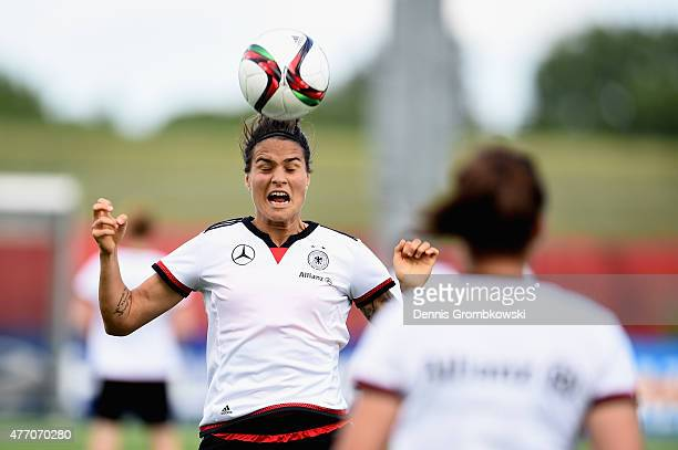 Dzsenifer Marozsan of Germany practices during a training session at Waverley Soccer Complex on June 13 2015 in Winnipeg Canada