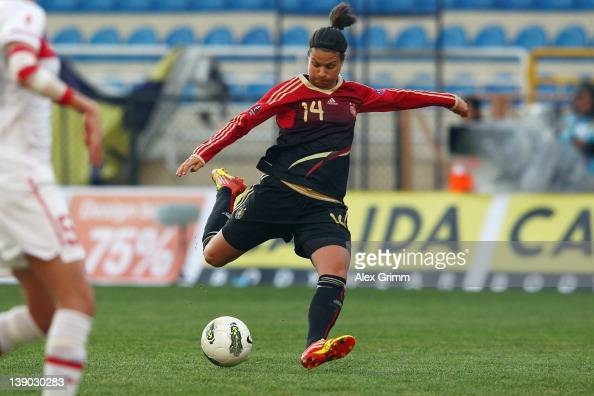 Dzsenifer Marozsan of Germany scores her team's first goal during the Women's Euro Qualifier between Turkey and Germany at Buca Arena on February 15...
