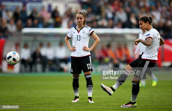 Dzsenifer Marozsan of Germany scores his teams first goal during the UEFA Women's Euro 2017 qualifier between Germany and Croatia at Osnatel Arena on...