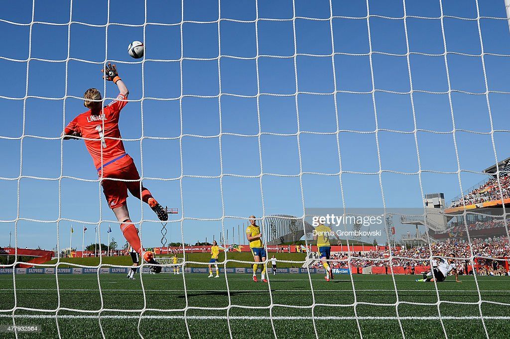 Dzsenifer Marozsan of Germany scores the fourth goal past Hedvig Lindahl of Sweden during the FIFA Women's World Cup Canada 2015 Round of 16 match between Germany and Sweden at Lansdowne Stadium on June 20, 2015 in Ottawa, Canada.