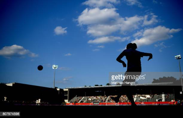 Dzsenifer Marozsan of Germany takes a cornerkick during the Women's International Friendly match between Germany and Brazil at BWTStadion am...