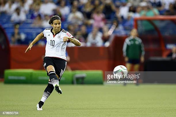 Dzsenifer Marozsan of Germany takes a free kick during the FIFA Women's World Cup Canada 2015 Quarter Final match between Germany and France at...